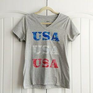 Sonoma USA V-neck Tee Red White Blue Patriotic S